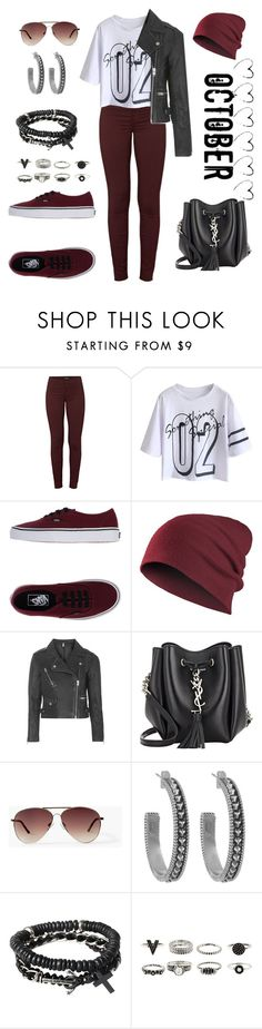 """""""Untitled #724"""" by gallant81 ❤ liked on Polyvore featuring J Brand, Vans, Topshop, Yves Saint Laurent, MANGO, House of Harlow 1960 and Icon"""