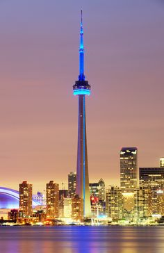 CN Tower, Toronto. The most famous skyscraper in all of Canada which is located in the biggest city in the country.