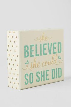 Mint Glitter She Believed She Could Box Sign $12.00