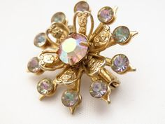 50's Snowflake Scatter Pin AB Rhinestone Brooch by ERAtiqueJewels, $10.00