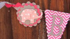 Baby Shower Banner, Baby Shower Decorations, Pink chevron, Pink and Gray on Etsy, $26.00