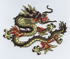 "1 Iron-On Embroidered Applique : Olive Green and Yellow Chinese Dragon Measures 3"" x 3-1/4"" or 7.62cm x 8.25cm"