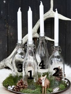 Use our wedding bottles as advent wreaths