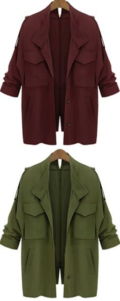 What i could buy with best price.Women fashion collection-Long sleeve pocket loose coat. Give you a wonderful fashion coat!