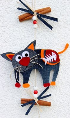 Cat Crafts, Diy And Crafts, Crafts For Kids, Arts And Crafts, Paper Crafts, Sewing Projects, Craft Projects, Projects To Try, Denim Art