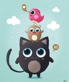 Illustration Mignonne, Cute Illustration, Ipad Art, Kids Cartoon Characters, Cartoon Art, Character Design Inspiration, Painting Inspiration, Chat Kawaii, Cat Quilt Patterns