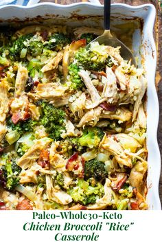 This creamy paleo chicken broccoli and rice casserole is packed with flavor and filling in the best way! Its compliant keto dairy free and perfect to make ahead of time for easy lunches and dinners. Paleo Menu, Paleo Dinner, Paleo Recipes, Paleo Food, Veggie Food, Paleo Dairy, Quick Recipes, Healthy Food, Healthy Blueberry Cobbler