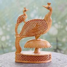 India Intricate Hand Carved Wood Sculpture Statue - Peacock Freedom | NOVICA