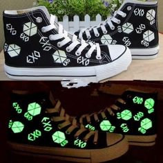 EXO Kpop SBS fluorescent Shoes canvas board shoes custom made accessories merchandise Sehun Luhan Tao Do Baek Hyun WOLF88 Grow xoxo (Style B, Girl  size US 8) Animer http://smile.amazon.com/dp/B00IXO1IW4/ref=cm_sw_r_pi_dp_lO7avb1N3655X
