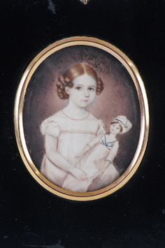 antique miniature portrait young girl with doll, c 1830