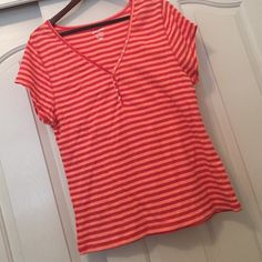 ‼️ Striped shirt Henley Super cute and bright (: size xxl in women's Old Navy Tops