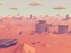 A low poly desert that I created in Blender. For the full landscape, more renders and my process visit Behance: Low Poly Desert