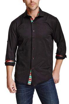 132463 - Black Button Up Long Sleeve Dress Shirt