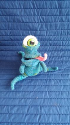 Wool Toy, Needle Felted Monster, Blue Green Cyclops, Handmade Soft Sculpture Art Doll, Hungry Monster