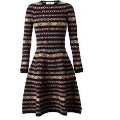 VALENTINO Tapestry Knitted Dress (66.190 RUB) ❤ liked on Polyvore featuring dresses, valentino, day dresses, vestidos, black multi, circle skirt, skater skirt, round neck dress, valentino dresses and tapestry dress