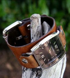 Classic Tan Leather Wrist Watch in Men's by Creative Urges on Scoutmob Shoppe. This handmade timekeeper features a black and silver watch face on a rich brown leather band for a modern, broken-in feel.