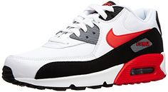 best service fccd7 aa97a Nike Mens Air Max 90 Essential WHITE BLACK COOL GREY CHALLENGE RED 537384