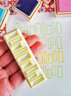 geometric rubber stamp -  hand carved rubber stamp -  rectangle pattern - large - no2
