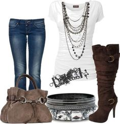 White blouse, jeans, brown bag and high heel cowboy shoes for ladies