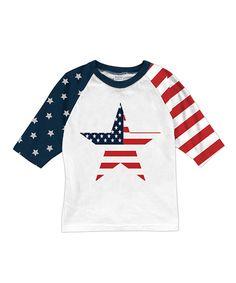 Americana Star Stars & Stripes Sleeve Raglan Tee - Toddler & Kids
