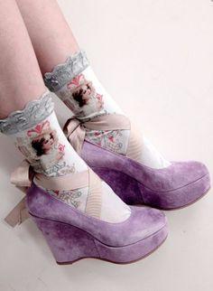 Purple velvet shoes with angel socks