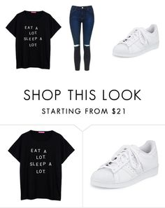 """eat a lot . sleep a lot ."" by qveenkyndall16 ❤ liked on Polyvore featuring adidas and Topshop"