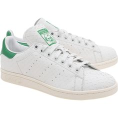 ADIDAS ORIGINALS Stan Smith Snake White // Sneakers of structured... (802435 PYG) ❤ liked on Polyvore featuring shoes, sneakers, white sneakers, adidas originals shoes, adidas originals sneakers, leather sneakers and flat shoes