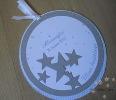 Faire part de bapt�me rond Baby Boy Christening, Christening Invitations, Twinkle Twinkle Little Star, Baby Born, Communion, Paper Art, Stars, Birthday, Party
