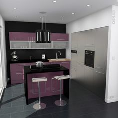 Cuisine quip e ouverte oskab on pinterest plan de for Mur cuisine aubergine