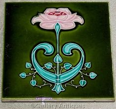 Rare antique Art Nouveau pink and teal Floral Embossed Majolica Ceramic Patent Lock green ground Tile by Sherwin & Cotton c.1905 (ref: 4041)