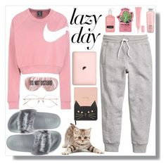"""a lazy day"" by ginasyukrani ❤ liked on Polyvore featuring NIKE, H&M, Puma, TONYMOLY, Lancôme, BaubleBar, Linda Farrow and Christian Dior"