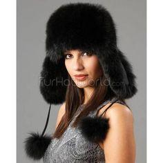 FRR Fox Fur Trapper Hat With Pom Poms Black