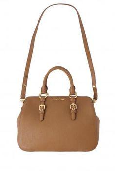 389d32a42eab miu miu madras top handles bag. Light brown buff color semi-rigid leather  handbag