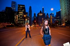 Chicago Engagement Session Photo - Michigan Avenue Night - www.christopherfphotography.com