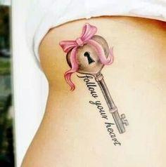 Tattoo quote, pink ribbon, key