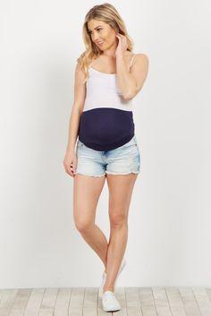Light Blue Faded Fringed Maternity Shorts