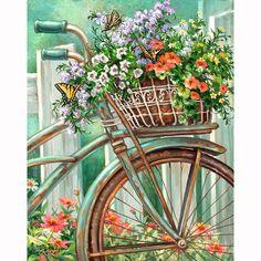 DIY Diamonds Embroidery Flowers bicycle Square Diamond Painting Cross Stitch Kits Of Rhinestones Mosaic Painting
