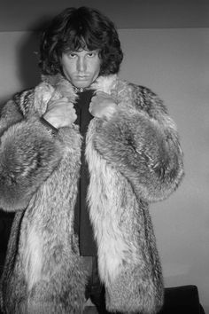 Jim Morrison by Gloria Stavers, 1967 Not too many men can pull off a long fur coat but he could