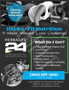 Set yourself apart with these eye catching Herbalife Weight Loss Challenge flyers!  High quality flyer design for Herbalife Distributors