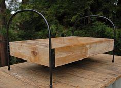 bathroom kit - Wood Wine Tray with Metal Frame