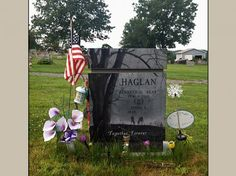Cremation Upright Monument Designed for Haglan Family Tombstone Designs, Oak Grove, Bench Designs, Picture Design, Cemetery, Scene, Private Property, Memories, Monuments