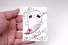 Ghost ACEO Ghost Artist Trading Card Kawaii Ghost Cute by Cyclop