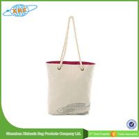 Rope handle print canvas tote bags wholesale