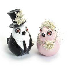 Sweet Couple Birdies Wedding Cake Topper Ceramic Handmade B00011