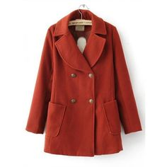 Red Double Breasted Long Sleeve Coat $68.00 (84 CAD) ❤ liked on Polyvore featuring outerwear, coats, coats & jackets, jackets, tops, red coat, long sleeve coat, red double breasted coat and double breasted coat