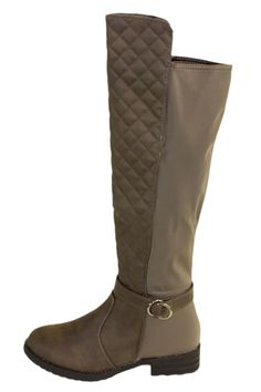 Brown Quilted Knee High Boots With Elastic Paneling