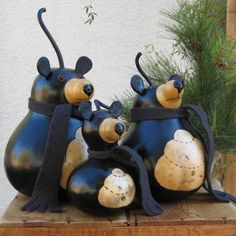 Bear Gourd Black Natural Centerpiece Decoration with Beehive Belly (mama bear only)