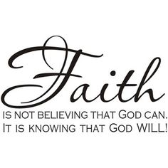 @Overstock - This beautiful vinyl applique applies to smooth surfaces like walls, glass, tile, and more. Ideal for a variety of settings, this religious piece of wall art shares the message, 'Faith is not believing that God can. It is knowing that God will!' http://www.overstock.com/Home-Garden/Faith-Is-Not-Believing-That-God-Can-It-Is-Knowing-That-God-Will-Art/6082585/product.html?CID=214117 $28.49
