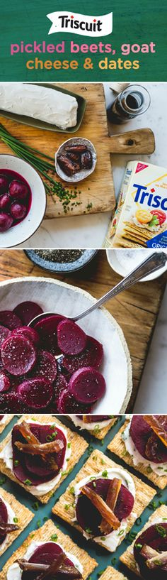 Impress guests with this savory and unique take on beet appetizers! Start by mixing 4 oz. goat cheese and 2-1/2 tsp. chives until blended. Separately toss 4 oz. pickled beets (cut into 48 slices) with 2 tbsp. balsamic vinegar and a dash of salt & pepper. Cut 4 pitted dates in half lengthwise, then cut each half crosswise into 6 strips. Spread 1 tsp. cheese mixture onto 24 TRISCUIT crackers, then layer with beet and date slices. Sprinkle with remaining chives for the finishing touch!