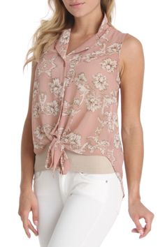 Cecico Tie Front Floral Top in Mauve - Beyond the Rack